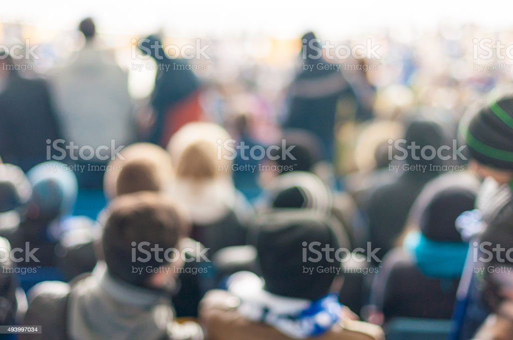 Blurred Crowd of People On stadium or ather populous place stock photo