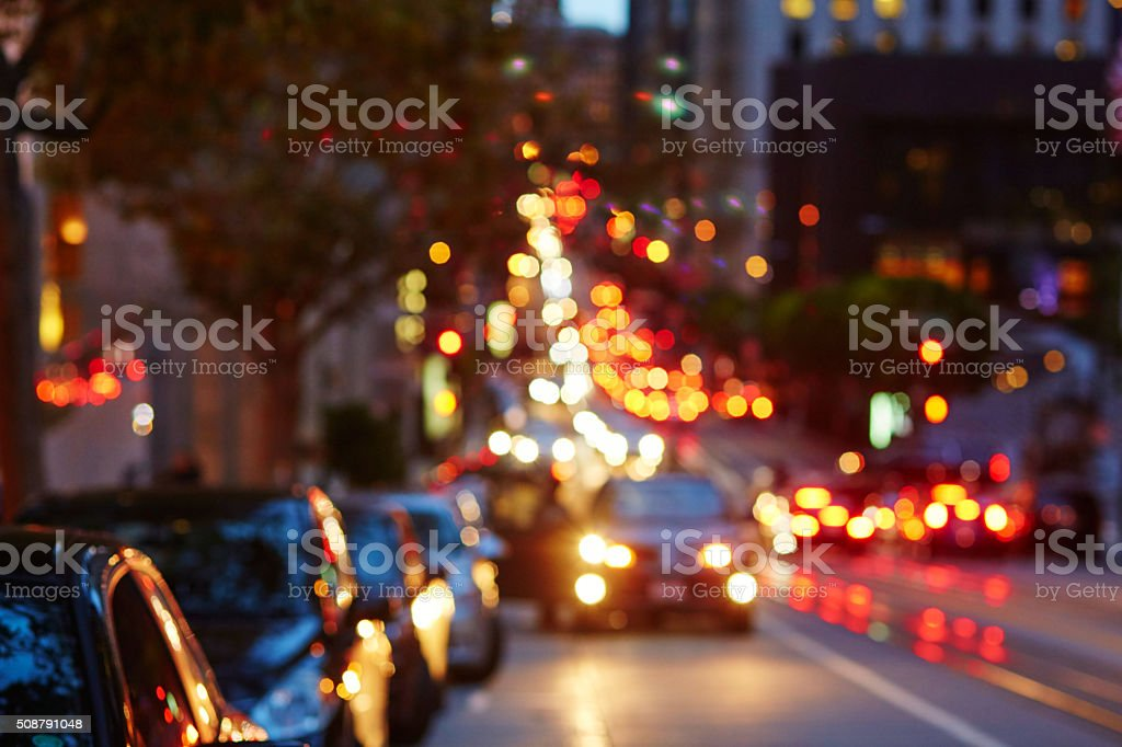 Blurred defocused car lights in San Francisco, California, USA stock photo