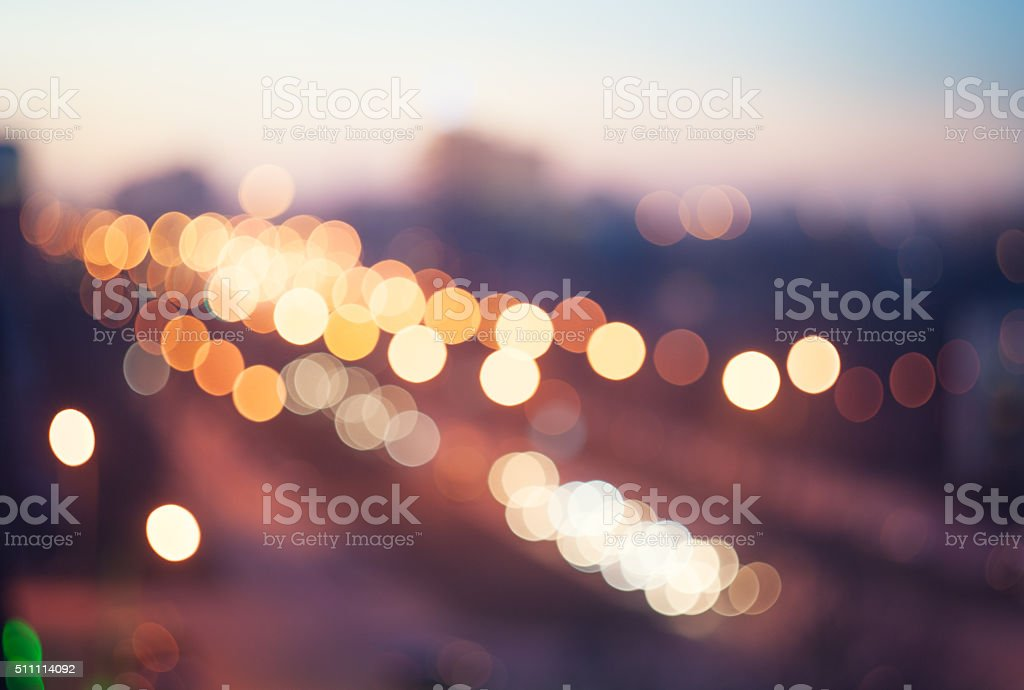 Blurred defocused lights of traffic in the city stock photo