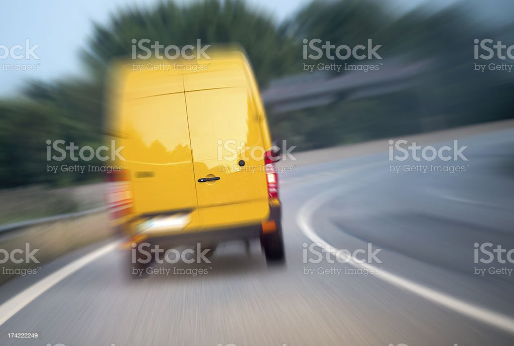 Blurred delivery van on highway royalty-free stock photo