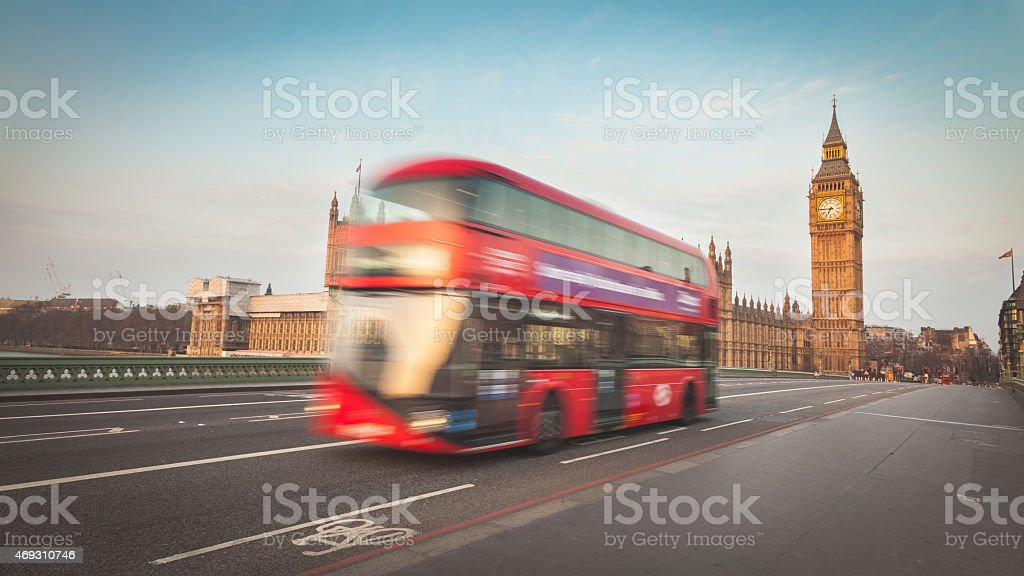Blurred double decker with Westminster and Big Ben on background stock photo