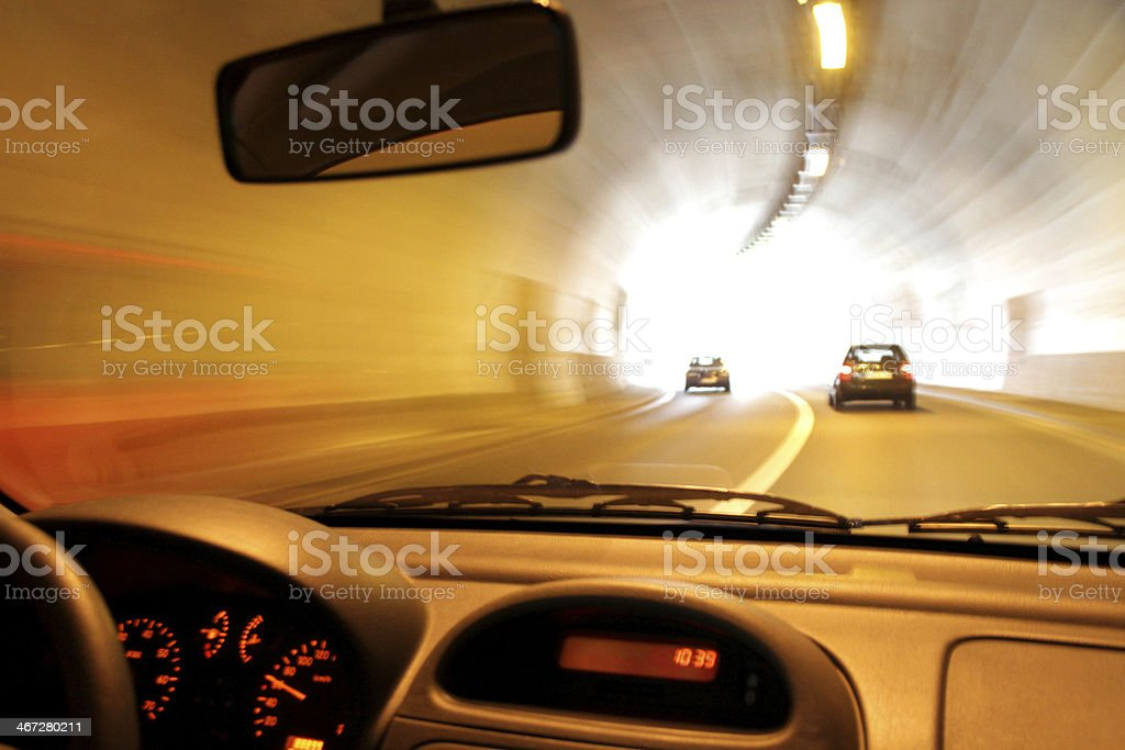 Blurred drive through tunnel stock photo