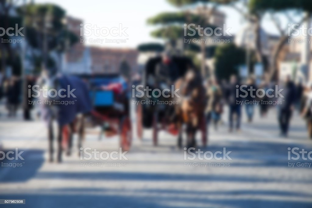 Blurred european downtown stock photo