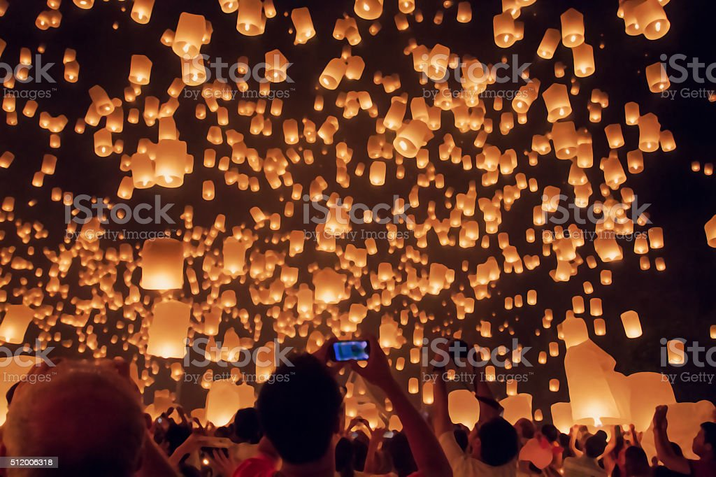 Blurred floating lantern or Yeepeng festival. stock photo