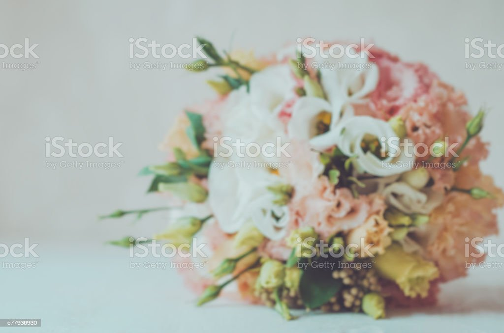 Blurred floral autumn background bridal bouquet of wedding flowers roses stock photo