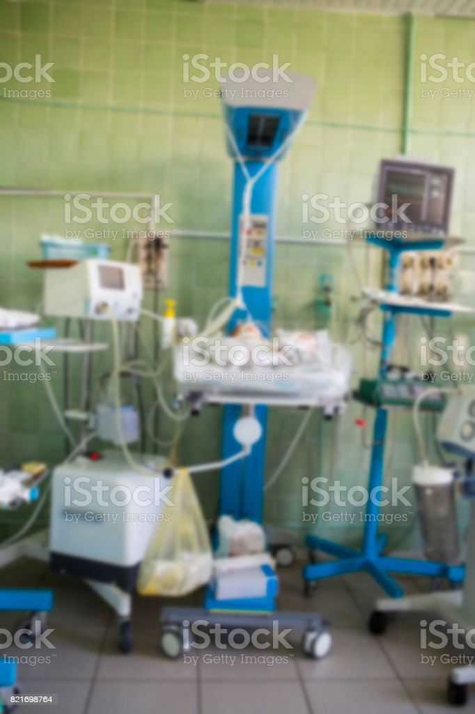 Blurred for background. The Neonatal Intensive Care Unit. NICU. The...