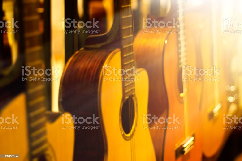 blurred guitars collection for background stock photo