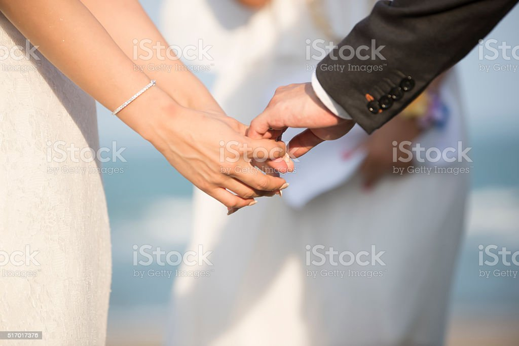 Blurred Hands newly married stock photo