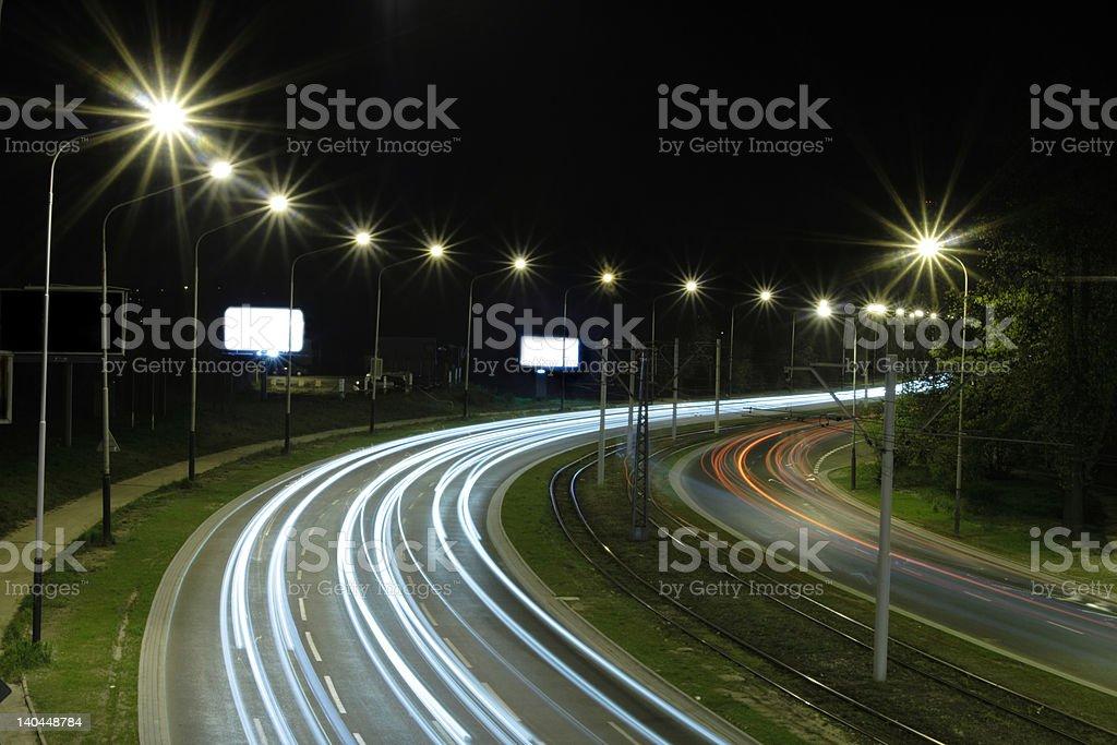 Blurred headlights stock photo