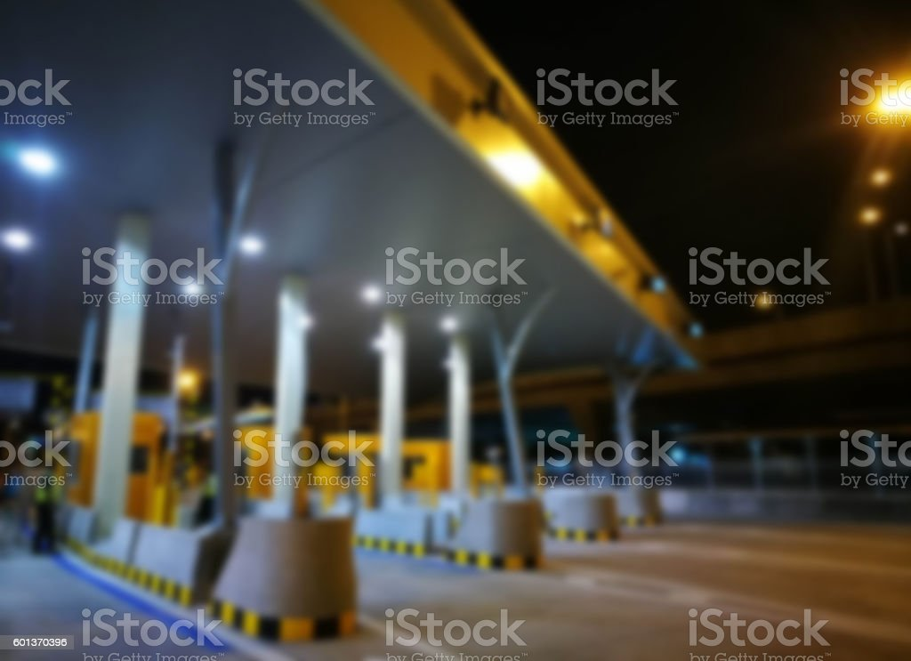 Blurred Highway Toll, Payment Gate Without Car At Night stock photo