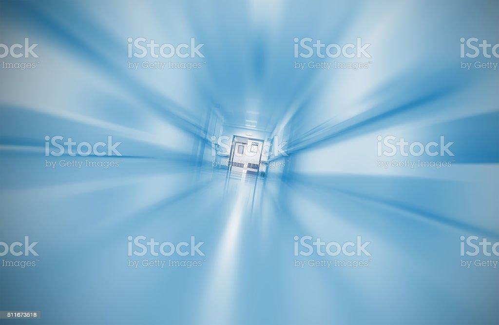 Blurred hospital corridor concept emergency case stock photo