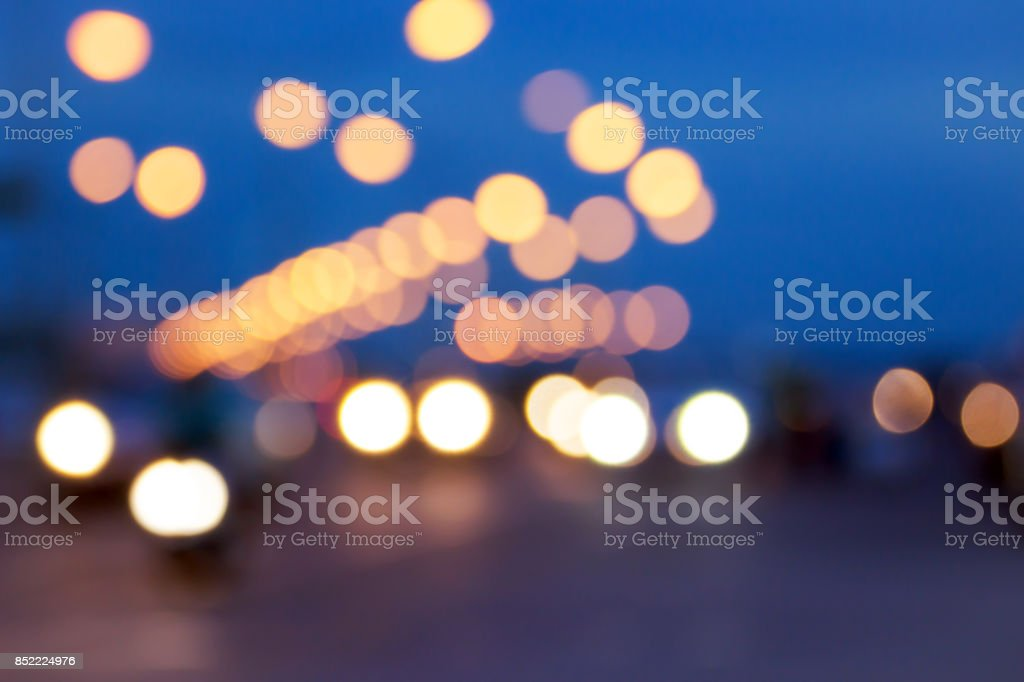 Blurred image for background of bokeh street traffic lights stock photo