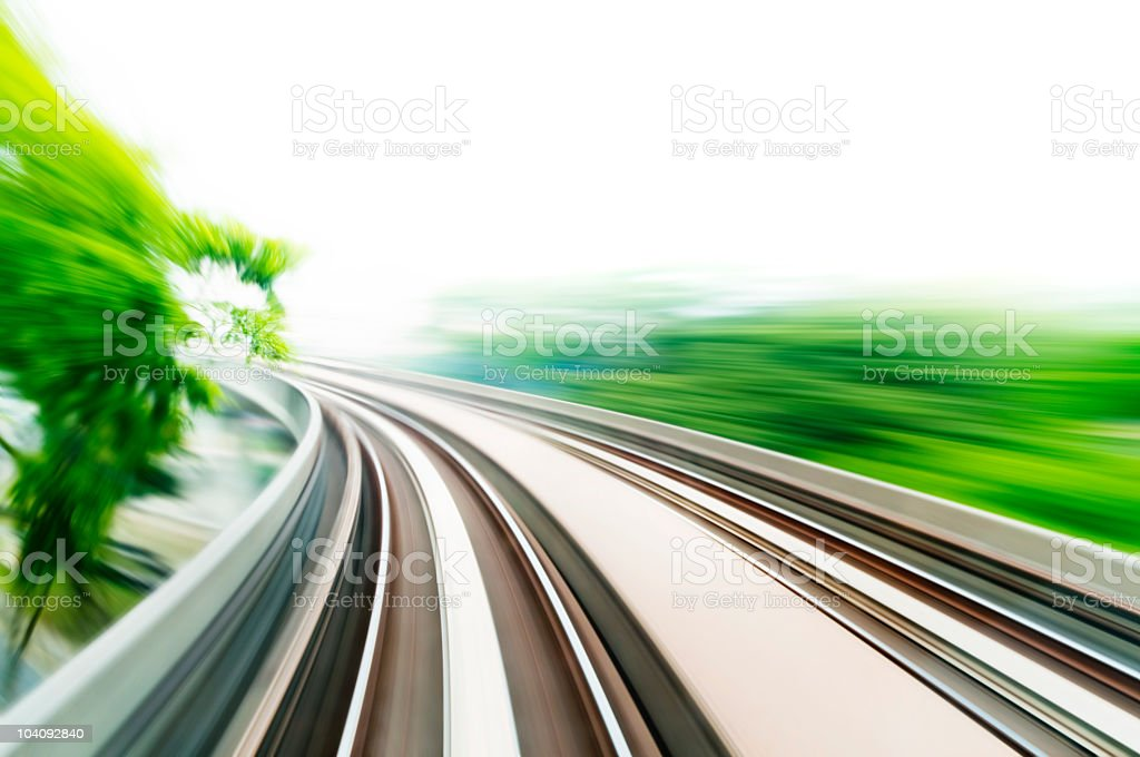 A blurred image from motion on a monorail or skytrain royalty-free stock photo