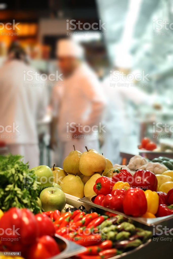 Blurred image of a busy vegan restaurant royalty-free stock photo