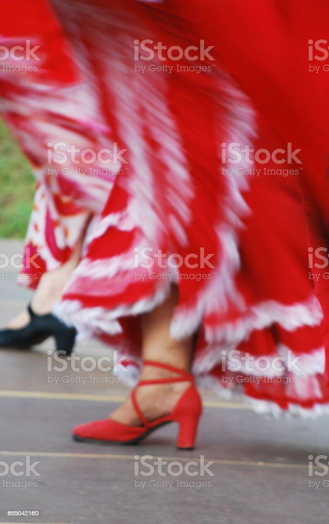 Blurred image of dancing girl stock photo