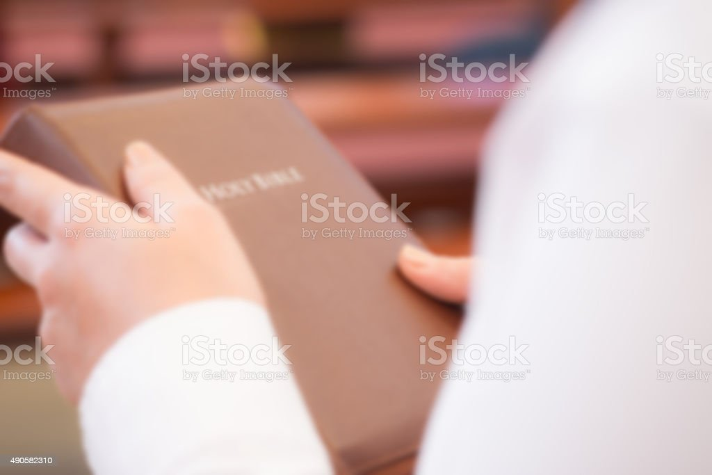 Blurred image of holy bible stock photo
