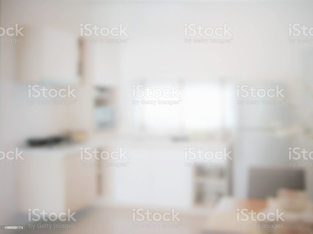 blurred image of modern kitchen interior for background stock photo