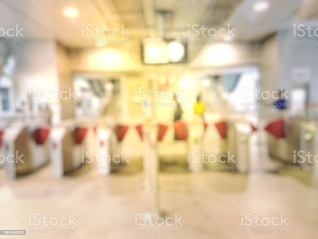 Blurred image of People at queue in front of Automatic ticket machine at train station. stock photo