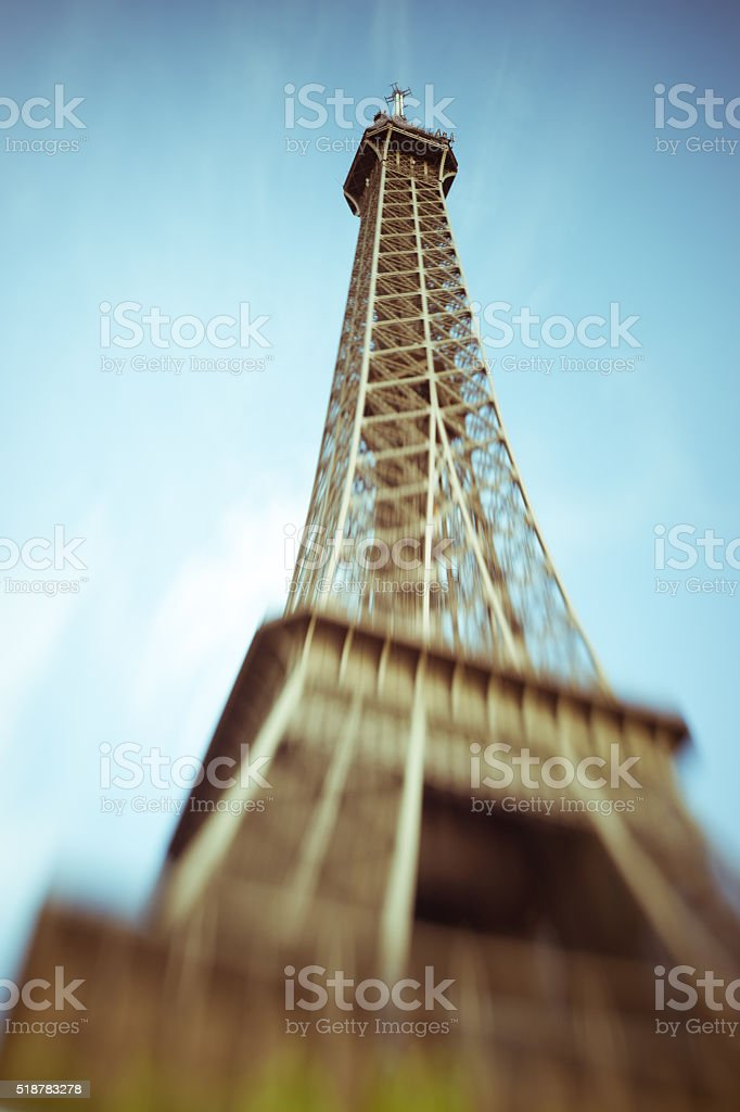 Blurred image of the Eiffel Tower in Paris, France stock photo