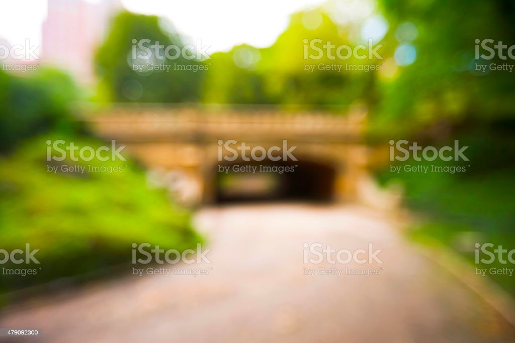 blurred image of tunnel in Central Park stock photo