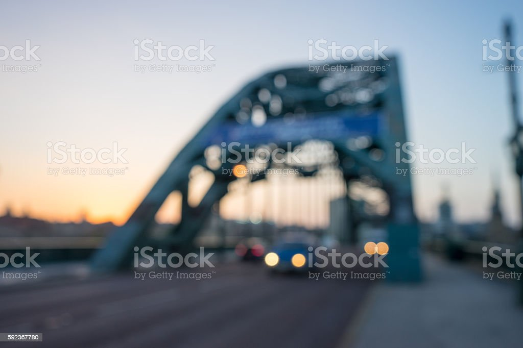 Blurred image of Tyne Bridge at sunset stock photo