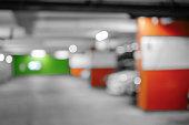 Blurred image Parking garage, interior shot of multi-story car p