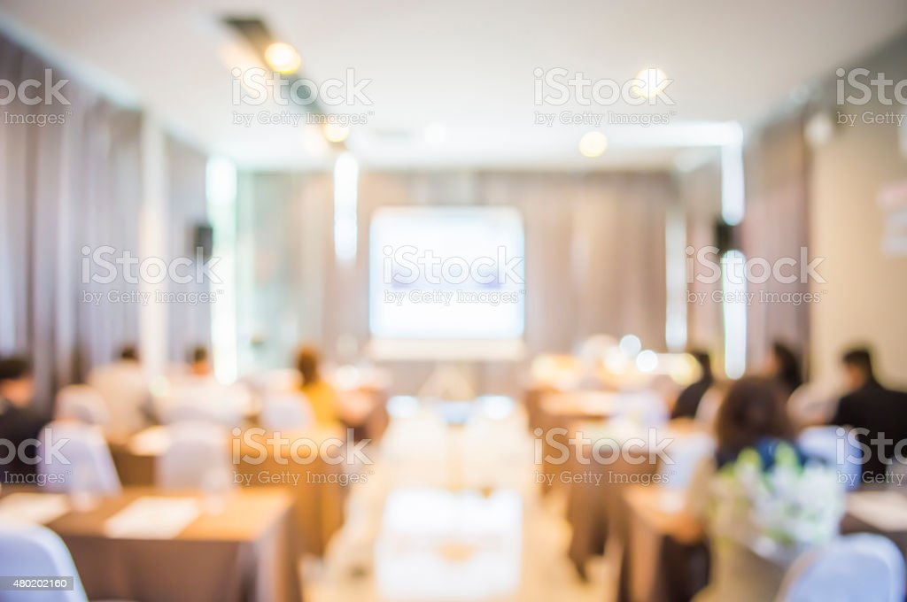 blurred in seminar room stock photo