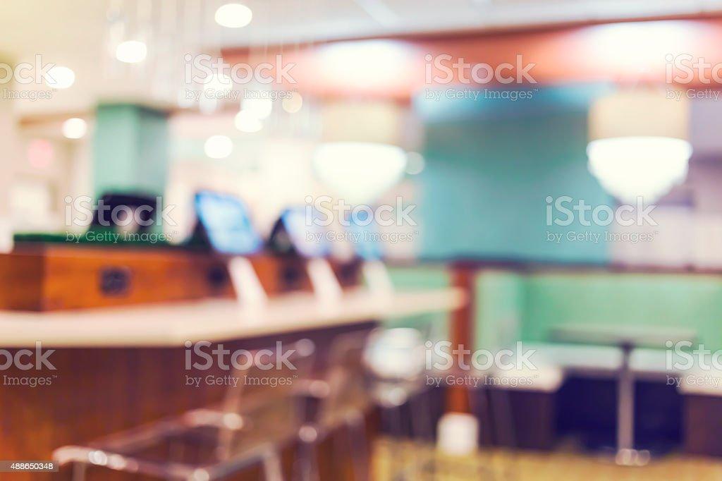 Blurred internet cafe interior background stock photo