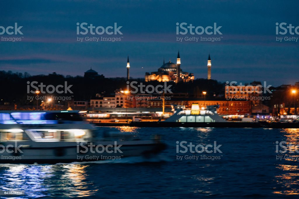 Blurred Istanbul City view with Hagia Sophia stock photo