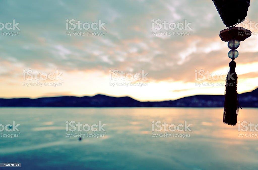 Blurred Lake Sundawn stock photo
