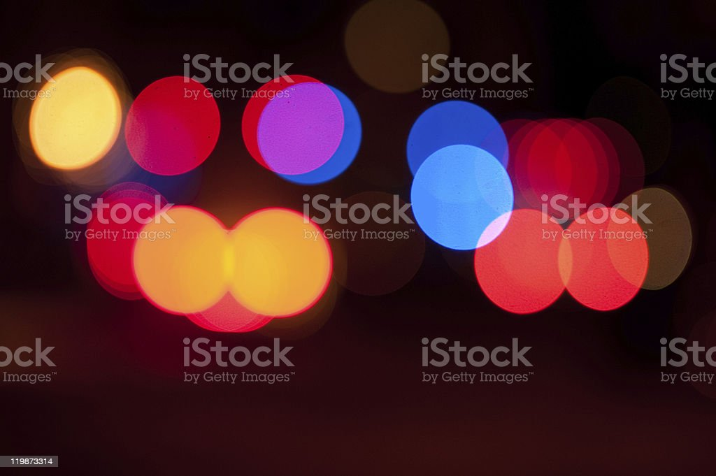 Blurred lights from emergency vehicles at night royalty-free stock photo
