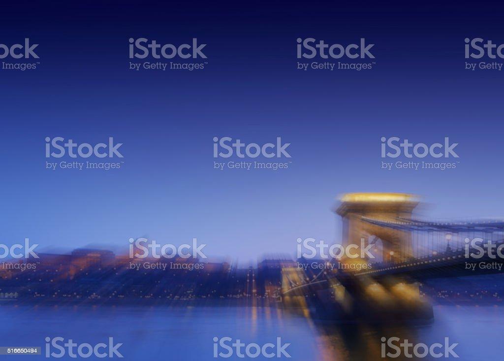 Blurred lights of Budapest night city, Hungary stock photo