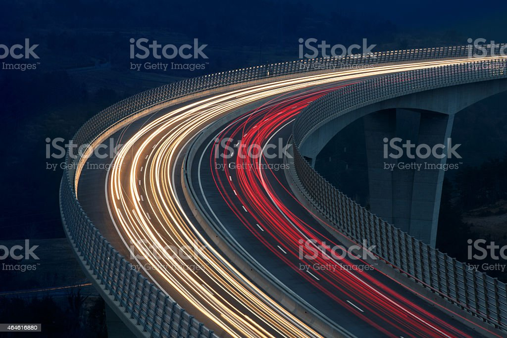 Blurred lights of vehicles stock photo