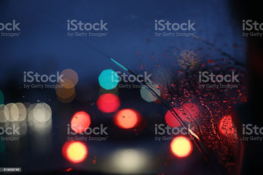 Blurred Lights on a Dark and Rainy Night in Canada stock photo