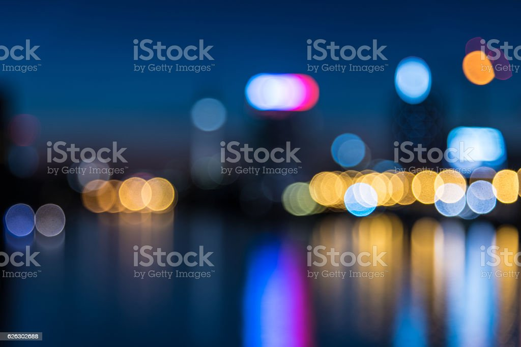 blurred lights over berlin river with view on tv-tower stock photo