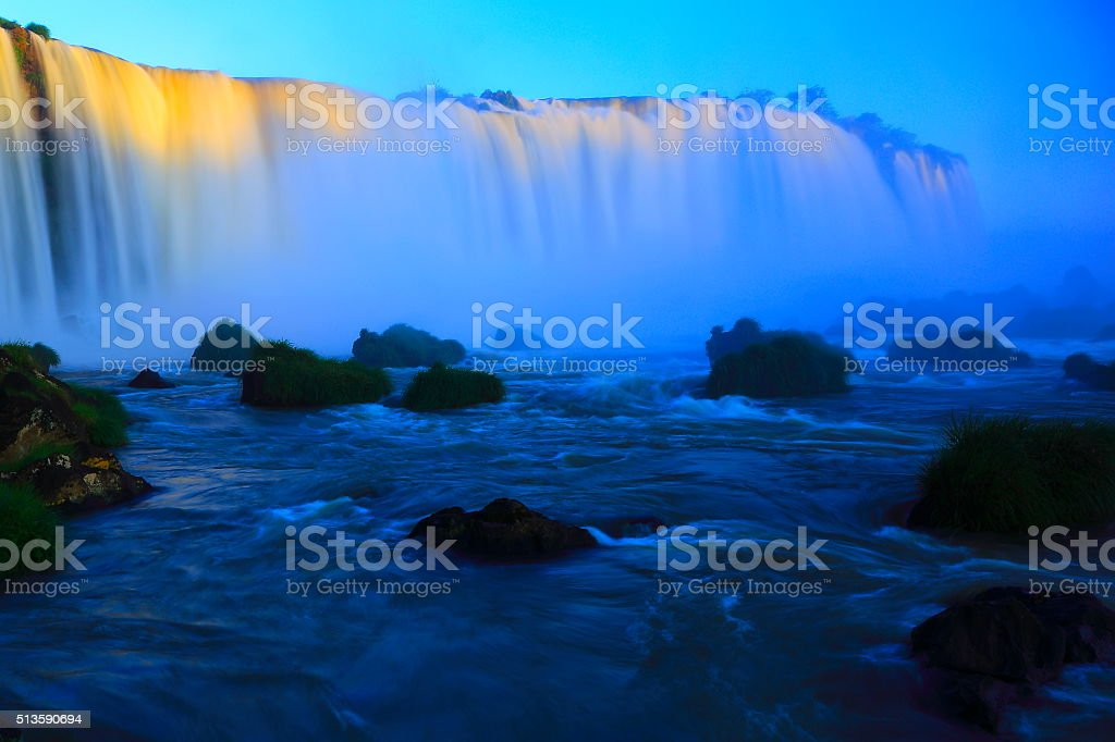 blurred long exposure iguacu falls, Brazil Argentina, South America stock photo