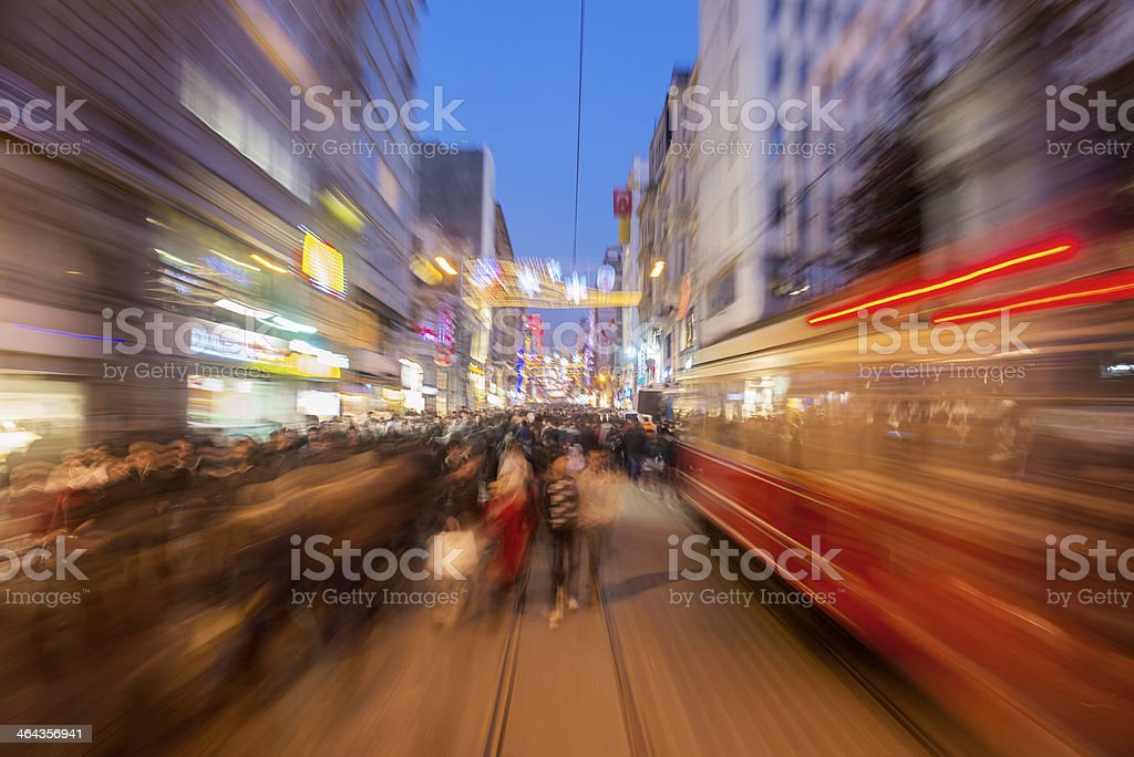 Blurred motion at Istiklal Street stock photo