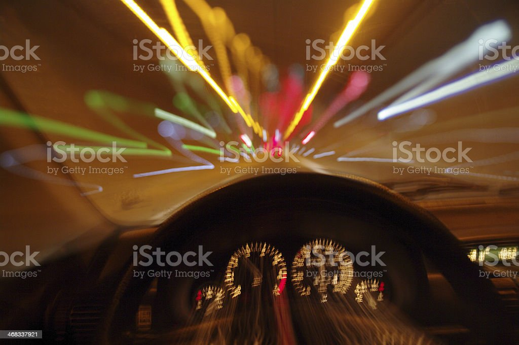 Blurred motion car drivers view traveling through tunnel stock photo