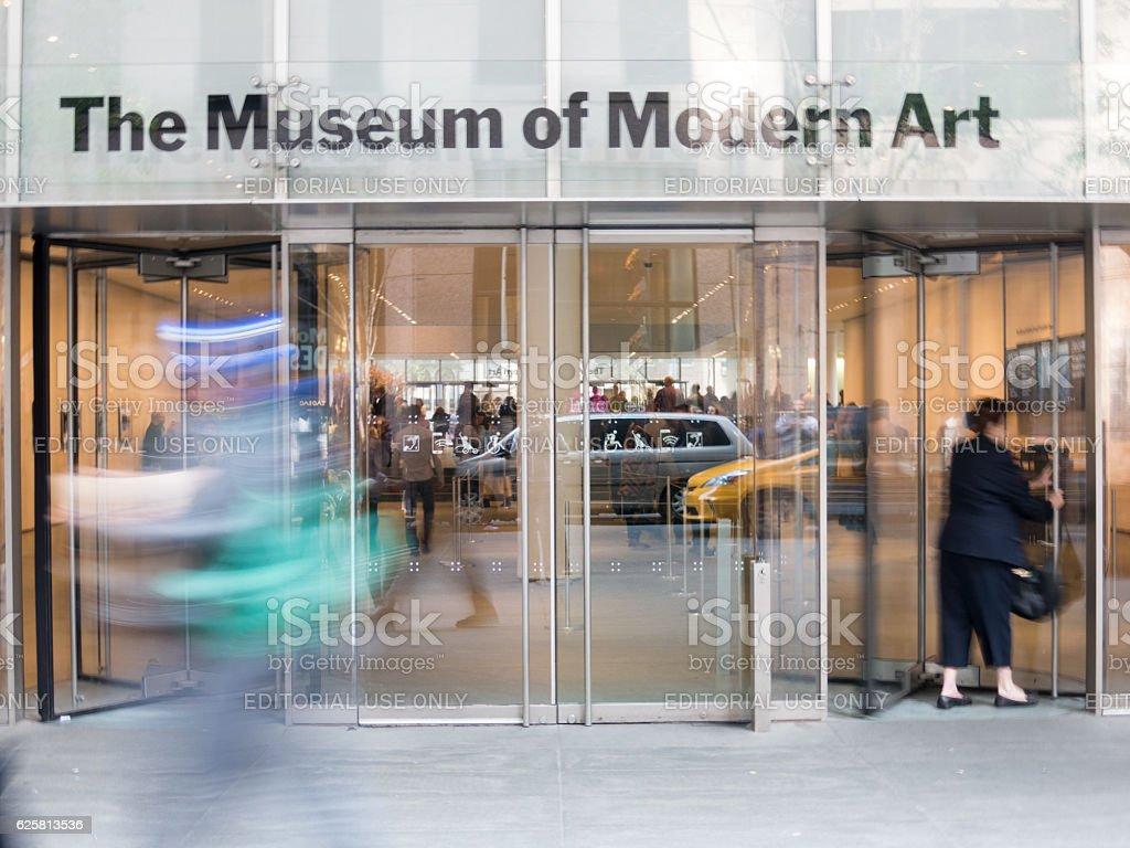 Blurred motion, Musuem of Modern Art NYC stock photo