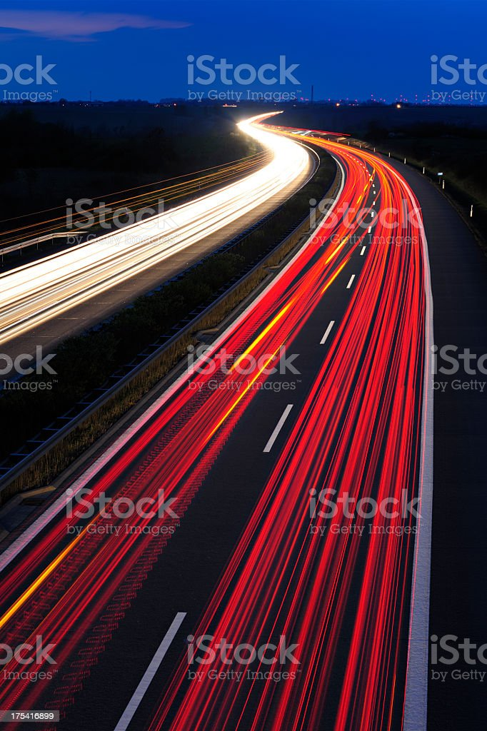 Blurred Motion of Car Lights on Highway at Night royalty-free stock photo