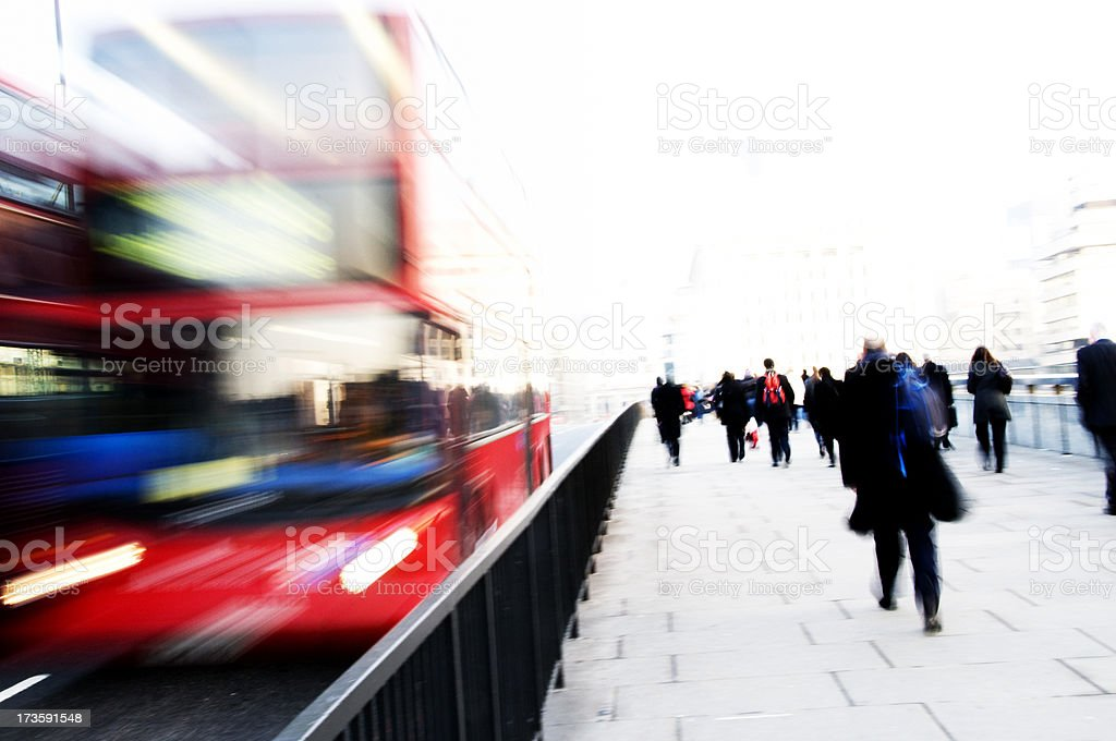 Blurred Motion of Commuters during Rush Hour royalty-free stock photo