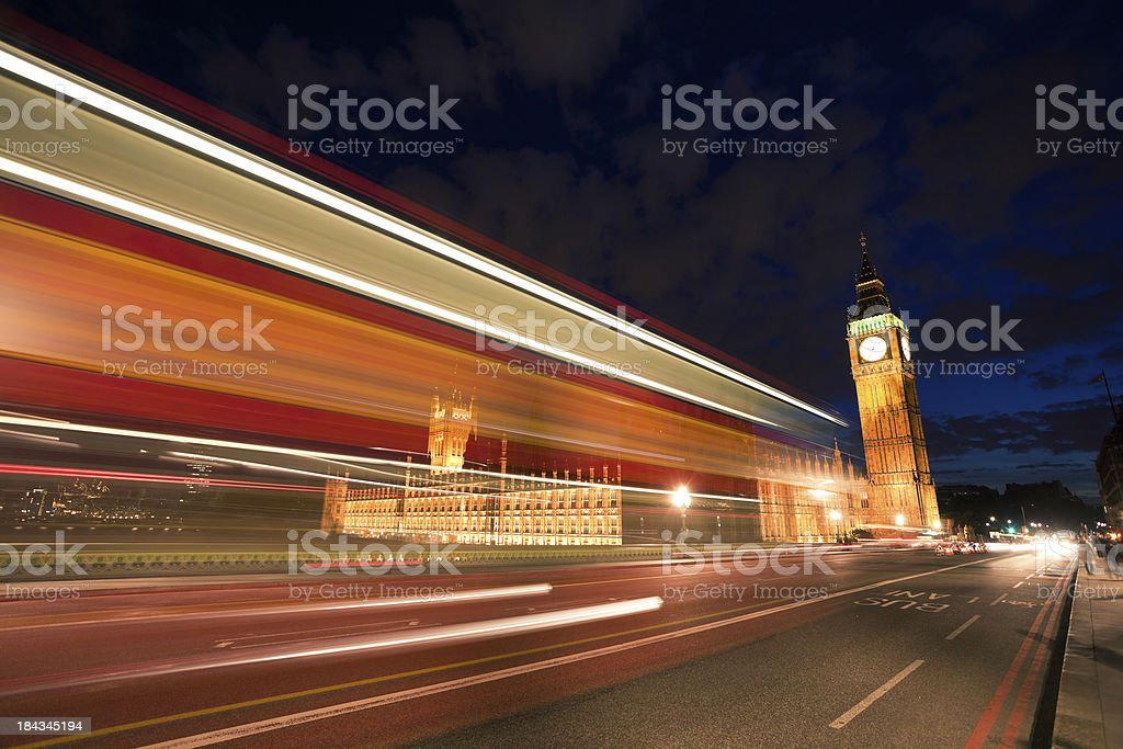 Blurred Motion of Double Decker Red Bus and Big Ben royalty-free stock photo