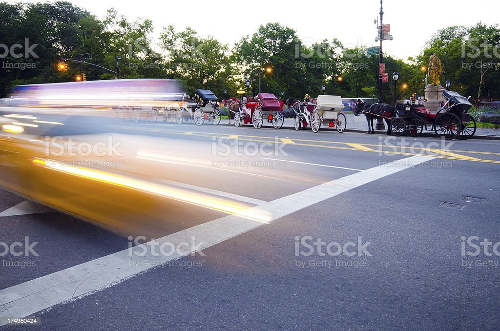 Blurred motion of taxi cab in New York City royalty-free stock photo