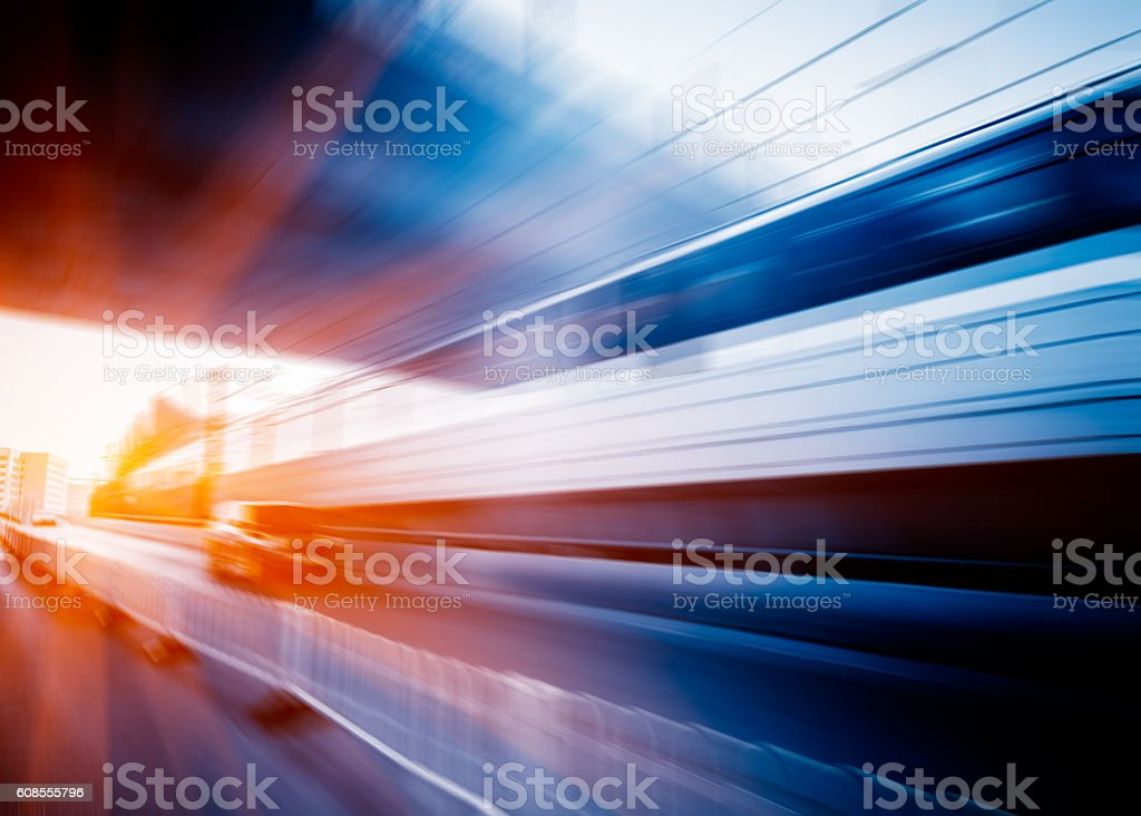 Blurred Motion Of Train In Subway Station stock photo