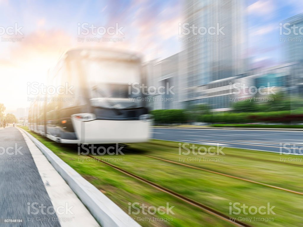 Blurred Motion Of Train Moving On Railroad Track stock photo