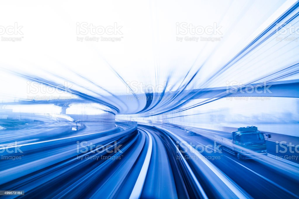 Blurred motion on the railway stock photo