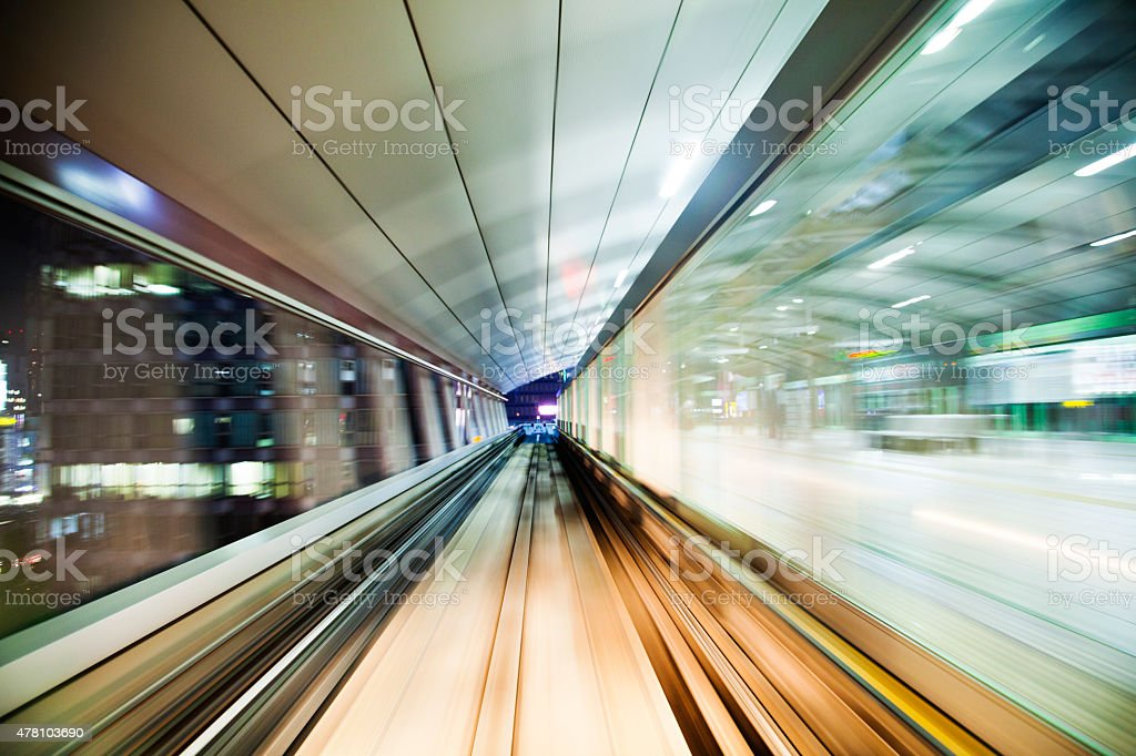 Blurred motion on the Subway in Tokyo. stock photo