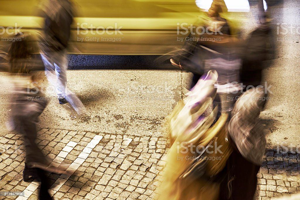 Blurred Motion people on busy street stock photo
