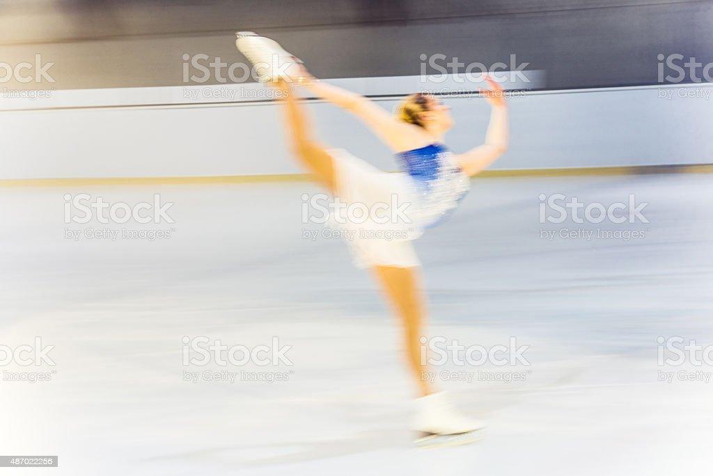 Blurred motion shot of figure female skater performing stock photo