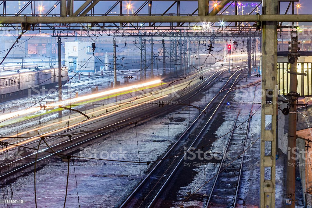 Blurred motion train at dark royalty-free stock photo